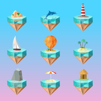 Tropical island symbols polygonal icons set