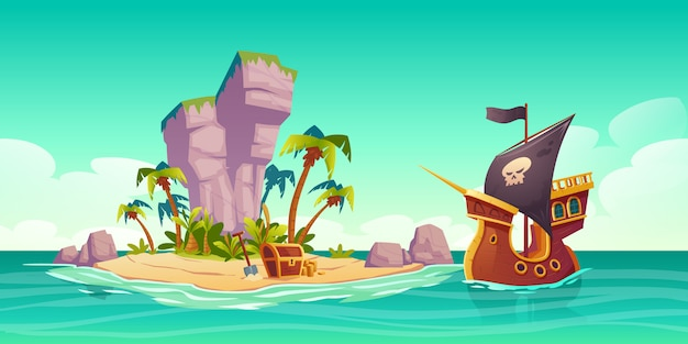 Tropical island, treasure chest and pirate ship
