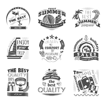Tropical island vacation journey travel agency black labels set for best summer holiday