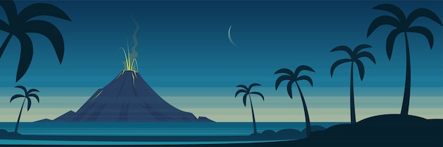 Tropical island volcano eruption landscape banner