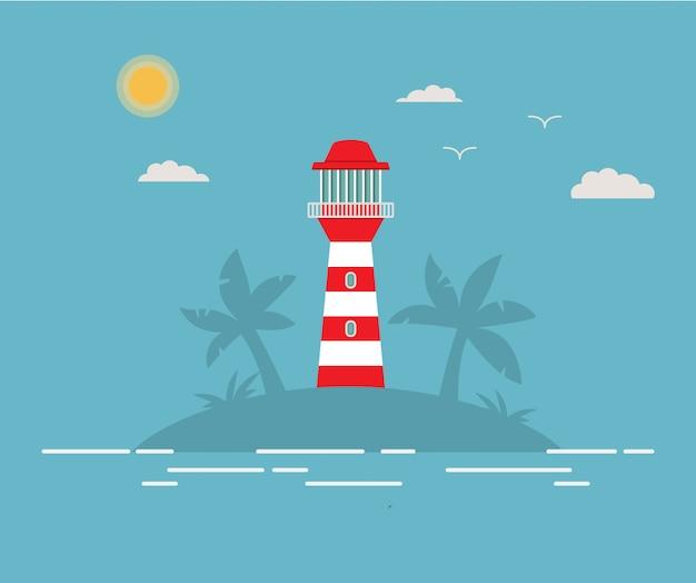 Тропический остров с маяком. летний морской пейзаж с маяком на пляже. башня с прожектором.