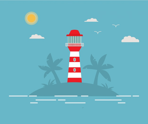 Tropical island with a beacon. a summer sea landscape with a lighthouse on the beach.tower with a searchlight.