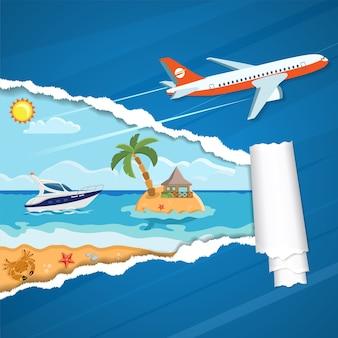 종이에 찢어진 된 구멍을 통해 야자수와 요트와 열 대 섬. 휴가, 관광 여행 및 평면 아이콘 해변, 보트, 불가사리, 방갈로 및 비행기와 여름 개념.