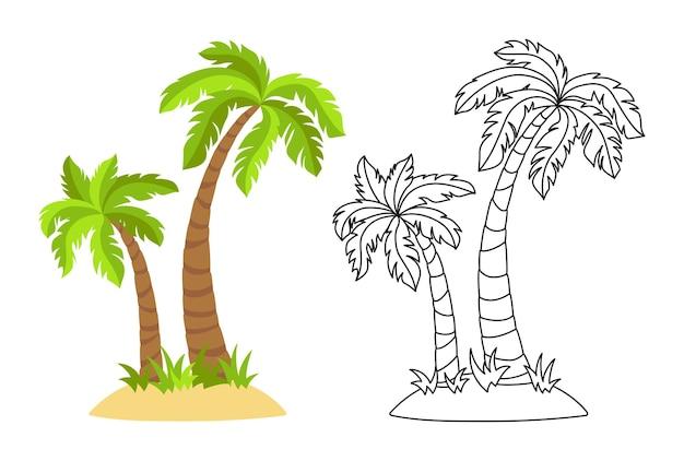 ヤシの木フラット漫画とラインセットと熱帯の島。