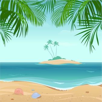 Тропический остров с пальмами. иллюстрация