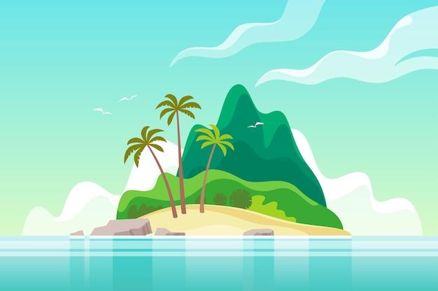 Тропический остров с пальмами. летний отпуск.