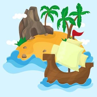 Тропический остров с пальмами и корабль в океане, иллюстрация.