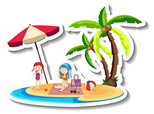 二人とココナッツの木のある熱帯の島
