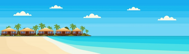 Tropical island with villa bungalow hotel on beach seaside green palms landscape summer vacation flat banner