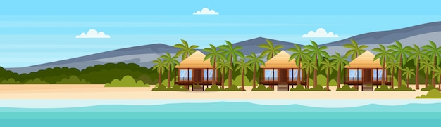 Tropical island with villa bungalow hotel on beach seaside mountain green palms landscape summer vacation flat banner