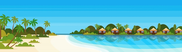 Tropical island with villas bungalow hotel on beach seaside green palms landscape summer vacation flat banner