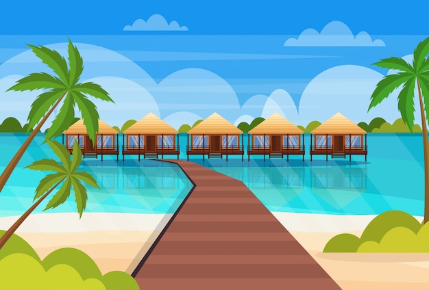 Tropical island wooden path villa bungalow hotel on beach seaside green palms seascape summer vacation flat