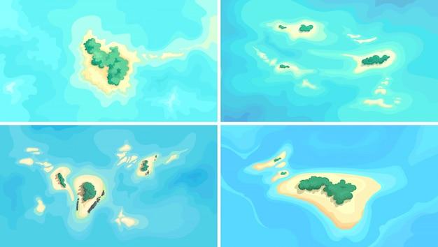 海の真ん中にある熱帯の島々。自然の風景のコレクション。