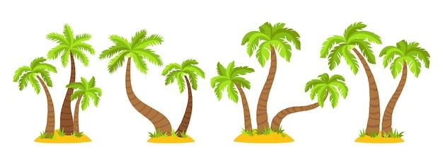 ヤシの木フラット漫画セットと熱帯の島々。