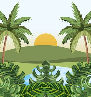 Tropical jungle cartoon
