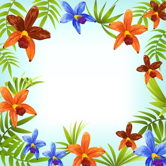Tropical jungle frame with orchids.