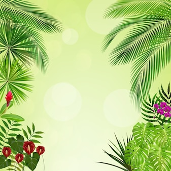 Tropical jungle on green background