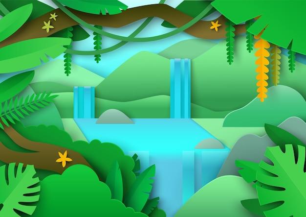 Тропический пейзаж джунглей лес амазонки с зеленой листвой экзотические растения водопад вектор вырезать из бумаги ...