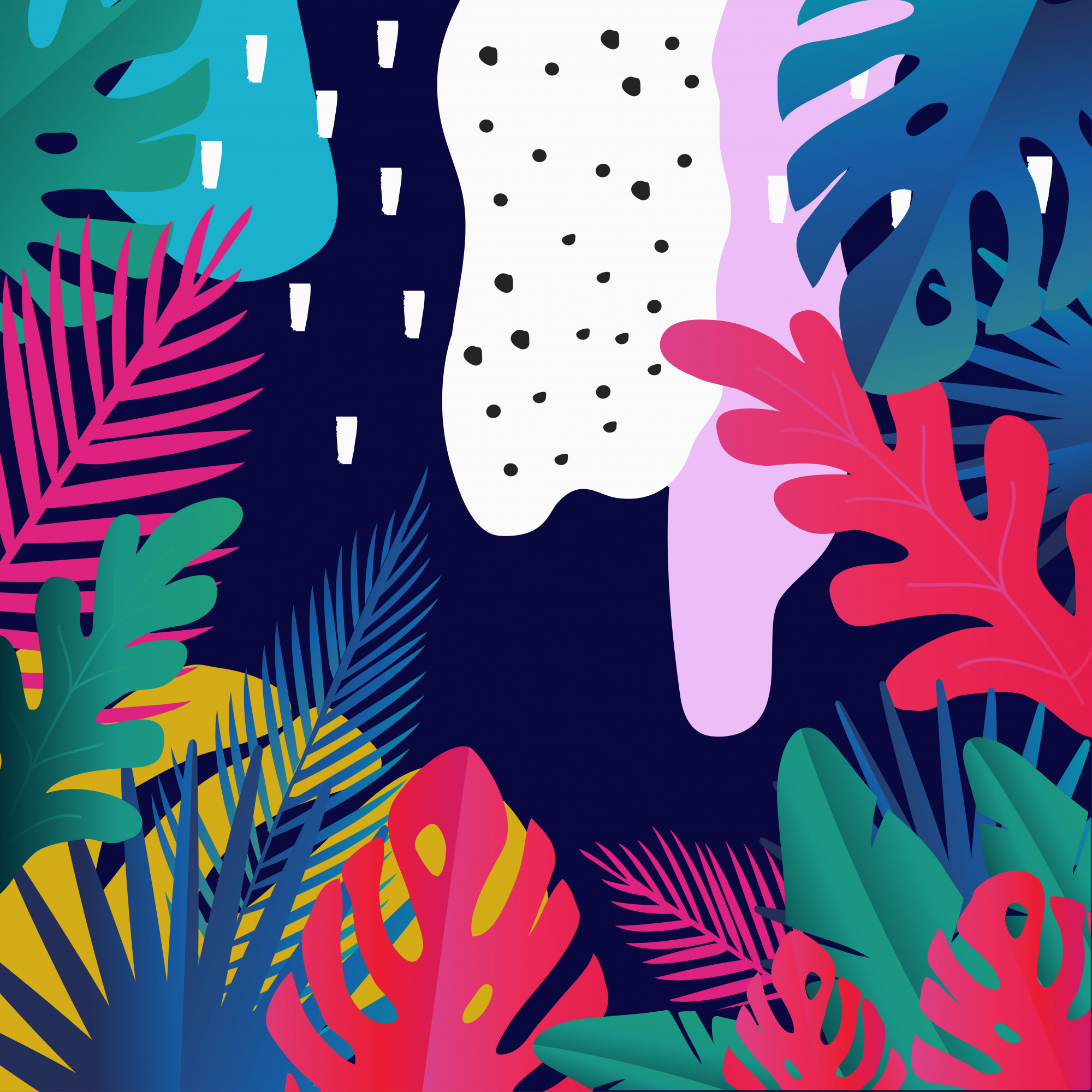 Tropical jungle leaves background, exotic summer art print