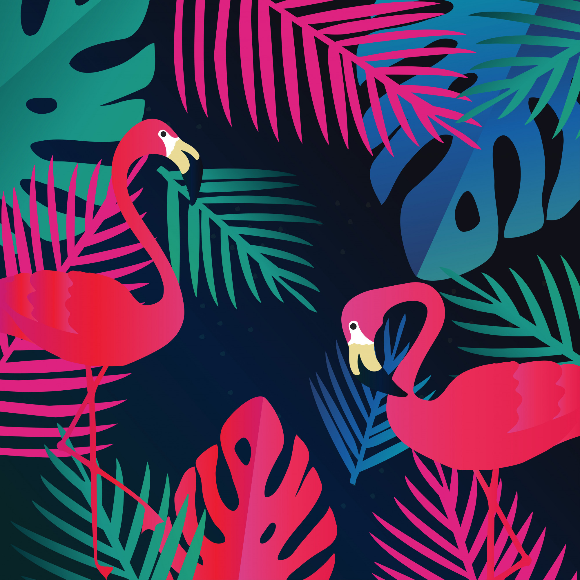 Tropical jungle leaves background with flamingos, exotic summer art print