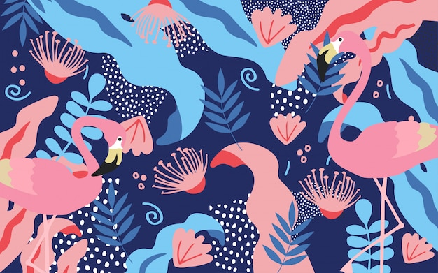 Tropical jungle leaves background with flamingos