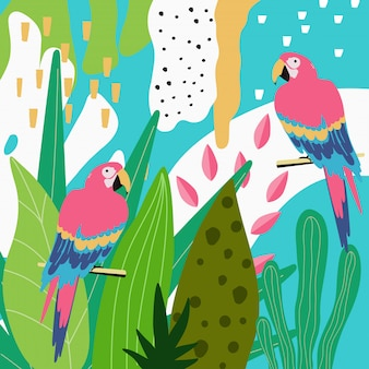 Tropical jungle leaves background with parrots