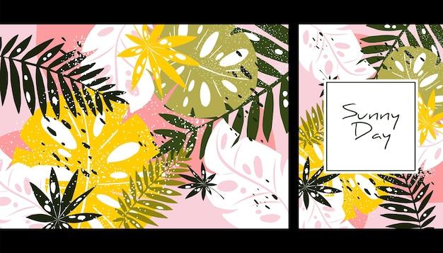 Узор с листьями тропических джунглей экзотические листья арт-принт