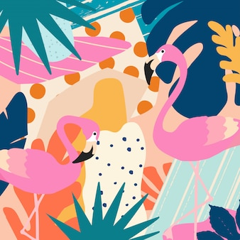Tropical jungle leaves poster background with flamingos