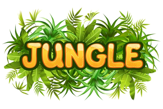 Tropical jungle lettering with leaves.