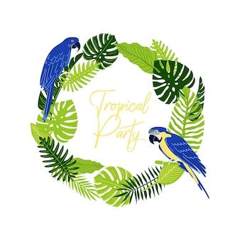 熱帯のジャングルのヤシとモンステラの葉とオウムまたはコンゴウインコ丸い花輪とテキストの場所