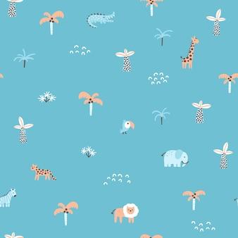 열 대 정글 원활한 패턴 동물과 야자수 간단한 handdrawn 스칸디나비아 낙서 스타일