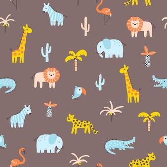 熱帯のジャングルのシームレスなパターン動物と手のひらシンプルなスカンジナビアの落書きスタイルの保育園