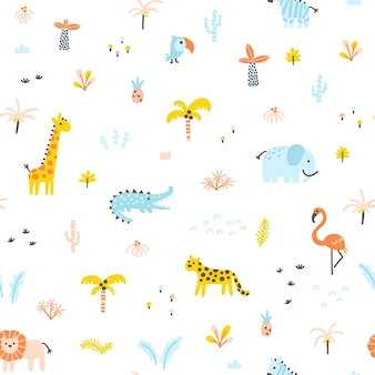 Tropical jungle seamless pattern animals and palms simple handdrawn scandinavian doodle style