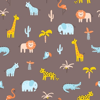 Tropical jungle seamless pattern animals and palms simple scandinavian doodle style nursery