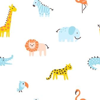 간단한 손으로 그린 스칸디나비아 스타일의 열대 정글 원활한 패턴 귀여운 야생 동물