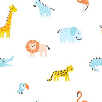 Tropical jungle seamless pattern cute wild animals in a simple hand-drawn scandinavian style
