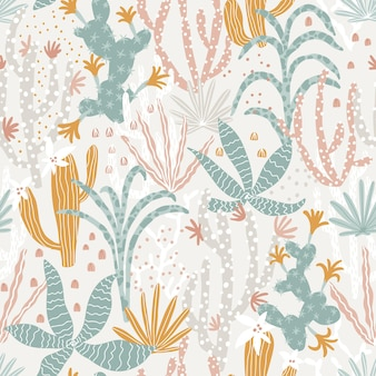 Tropical jungle seamless pattern illustrations of plants cacti succulents in a cartoon