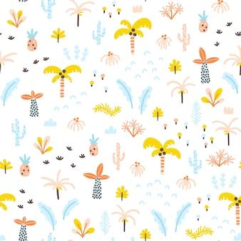 シンプルな手描きのスカンジナビアスタイルの熱帯ジャングルのシームレスなパターンのヤシの木や植物