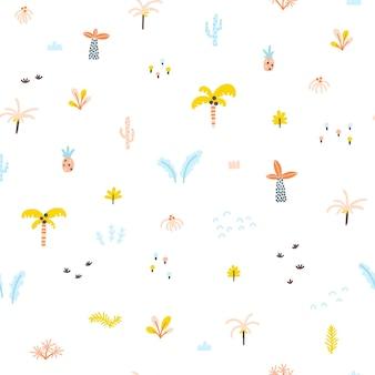 熱帯のジャングルのシームレスなパターン手描きのスカンジナビアの落書きスタイルのヤシの木と植物