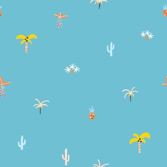 Tropical jungle seamless pattern palm trees and plants in a handdrawn scandinavian doodle style