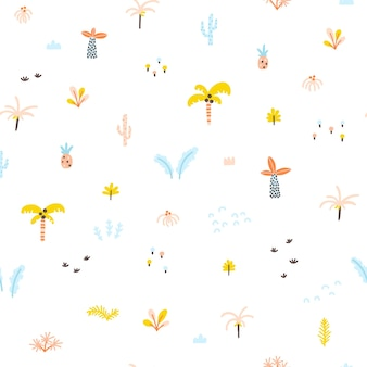 Tropical jungle seamless pattern palm trees and plants in handdrawn scandinavian doodle style