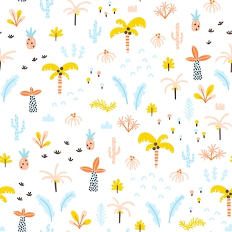 Tropical jungle seamless pattern palm trees and plants in a simple handdrawn scandinavian style