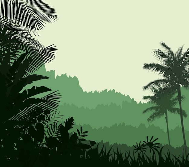 Tropical jungle silhouette background