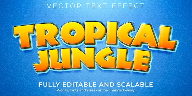 Текстовый эффект тропических джунглей, редактируемый мультфильм и забавный стиль текста