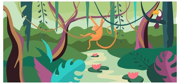 熱帯の風景の背景自然バナー漫画イラスト。コンセプトホットカントリージャングル、野生のサルが木を生き、リアナを飛ぶ。