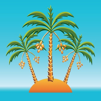 Tropical landscape of the island in the ocean and three date palm trees