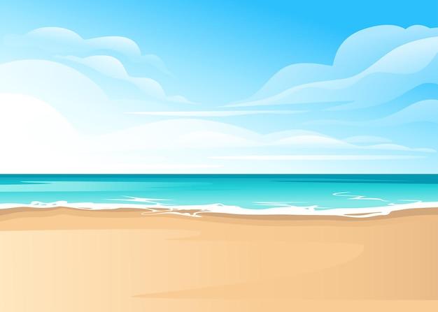 Тропический пейзаж побережья красивого морского берега пляжа в хороший солнечный день плоский векторные иллюстрации