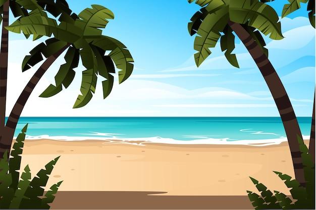 良い晴れた日にヤシの木や植物と海岸の美しい海岸ビーチの熱帯の風景フラットベクトル図