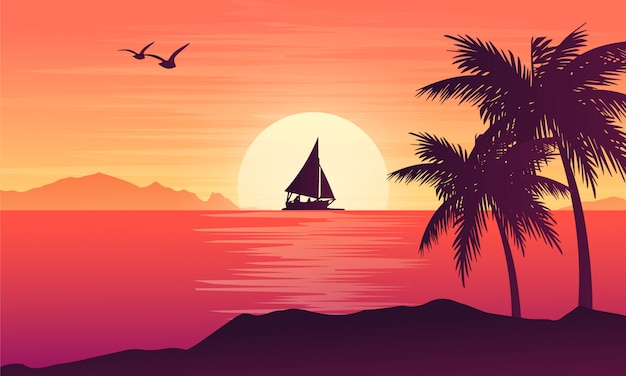 Tropical landscape with ocean and sunset design