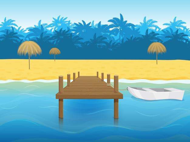 Тропический пейзаж с пальмами, пляжем и пристанью для яхт с лодкой. мультяшный стиль иллюстрации.